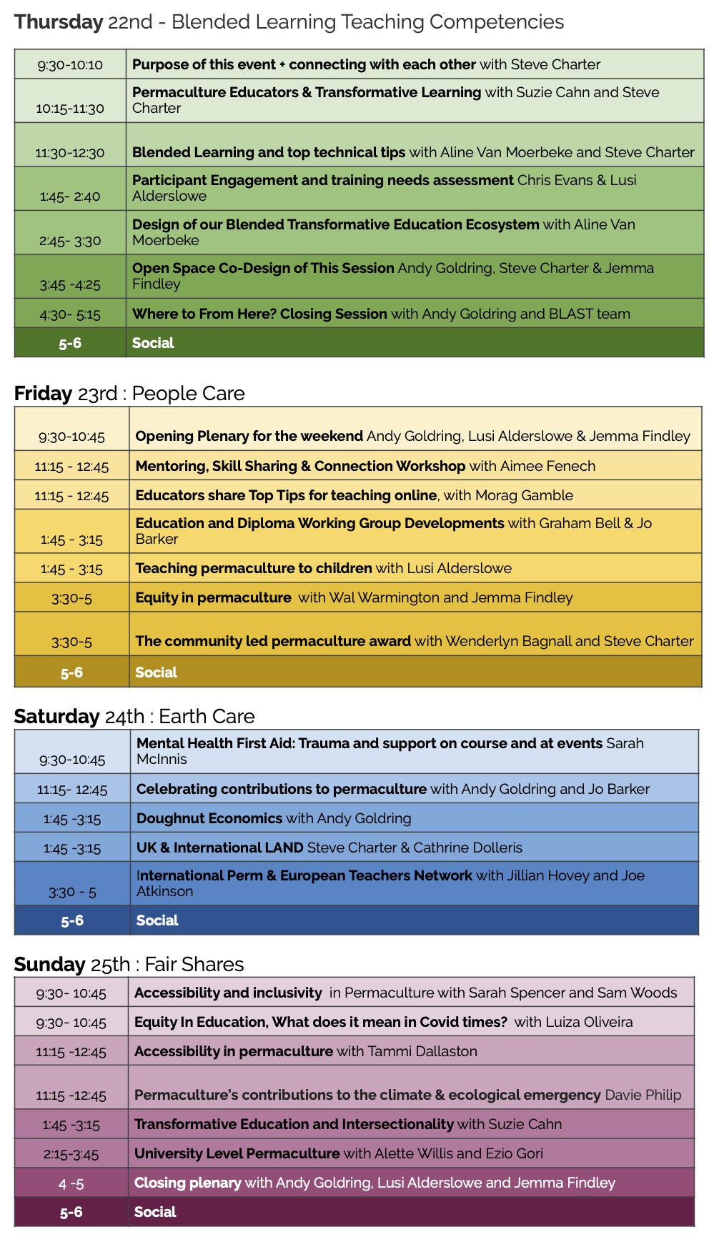 Graphic showing the full event programme for educators gathering